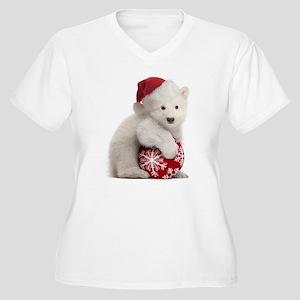 Polar Bear Cub Christmas Women's Plus Size V-Neck