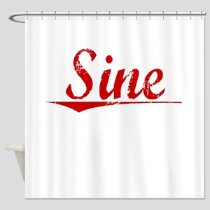 Sine, Vintage Red Shower Curtain