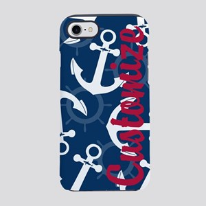 Customized Nautical Red White Blue Anchors iPhone