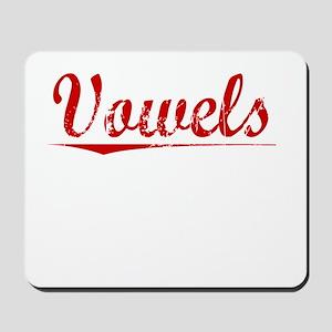 Vowels, Vintage Red Mousepad