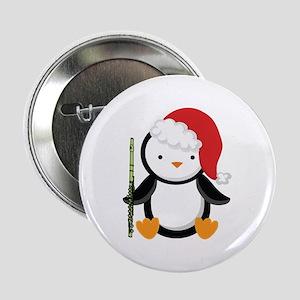 """Flute Christmas Penguin 2.25"""" Button"""