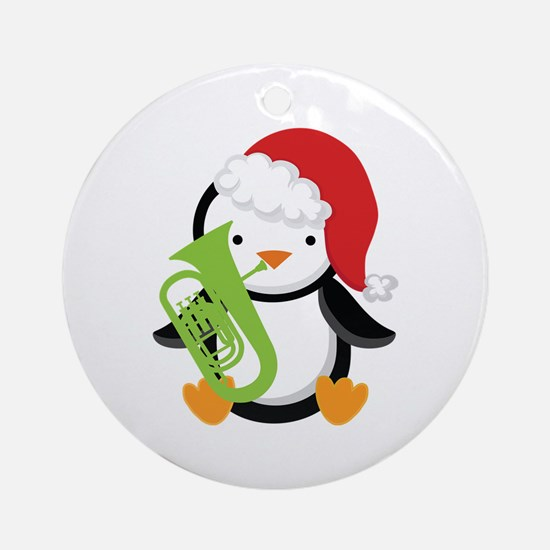 Tuba Christmas Music Penguin Ornament (Round)