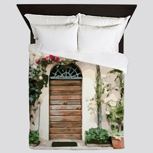 Tuscany Floral Doorway Pink Flowers Queen Duvet