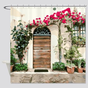 Tuscany Floral Doorway Pink Flowers Shower Curtain