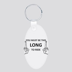 You must be this long Aluminum Oval Keychain