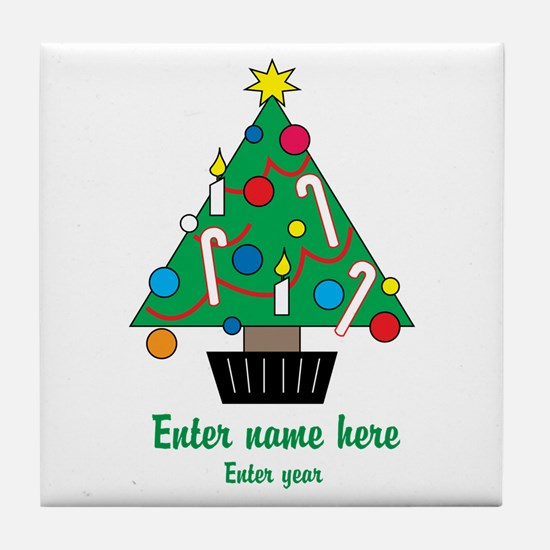 Personalized Christmas Tree Tile Coaster