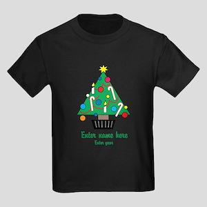 Personalized Christmas Tree Kids Dark T-Shirt