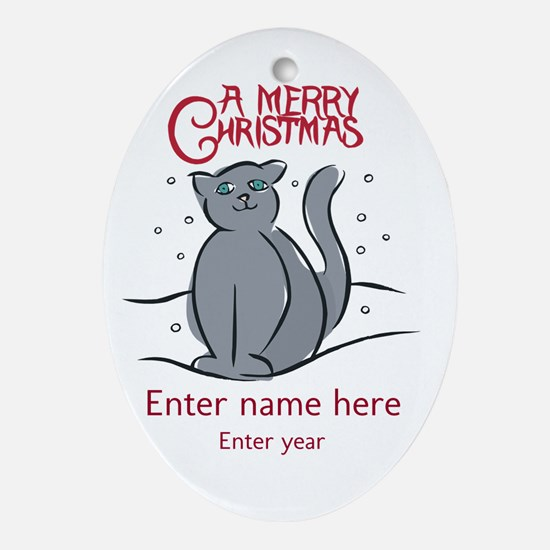 Personalized Christmas Cat Ornament (Oval)