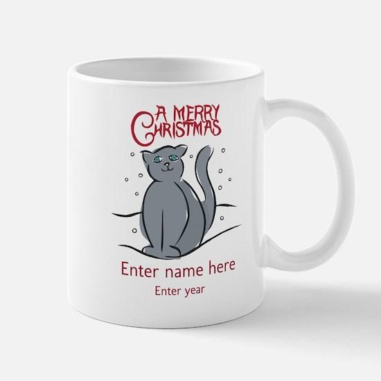 Personalized Christmas Cat Mug