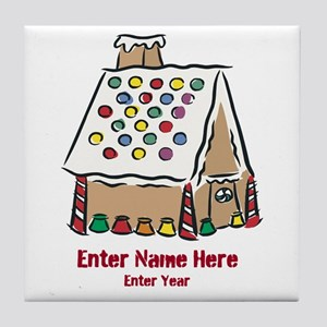 Personalized Gingerbread House Tile Coaster