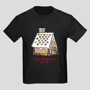 Personalized Gingerbread House Kids Dark T-Shirt