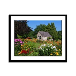 Country Garden Cottage Framed Panel Print