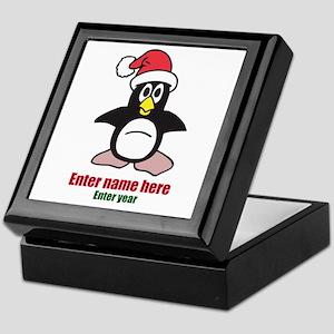 Personalized Christmas Penguin Keepsake Box