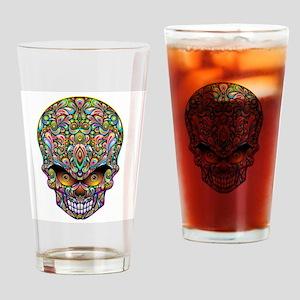 Psychedelic Skull Art Design Drinking Glass