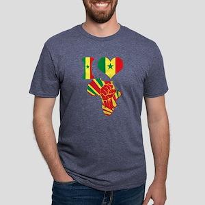 I Love Senegal Flag Africa  Mens Tri-blend T-Shirt