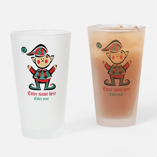 Personalized Christmas Elf Drinking Glass