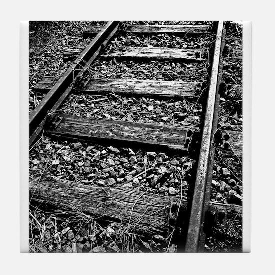 Overgrown Railway Tracks Tile Coaster