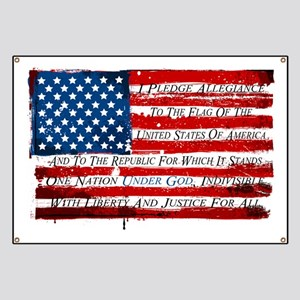 Patriotic Pledge of Allegiance USA Flag Banner