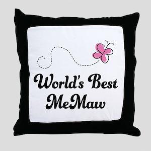 Worlds Best MeMaw Throw Pillow