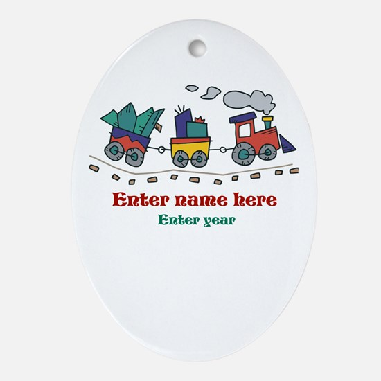 Personalized Christmas Train Ornament (Oval)
