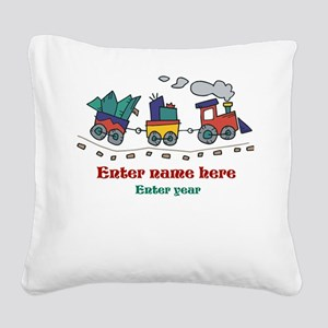 Personalized Christmas Train Square Canvas Pillow