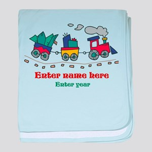 Personalized Christmas Train baby blanket