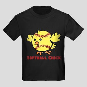 Softball Chick Kids Dark T-Shirt