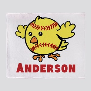 Personalized Softball Chick Throw Blanket