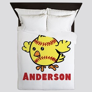 Personalized Softball Chick Queen Duvet