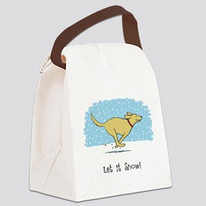 Labrador Snow Holiday Canvas Lunch Bag