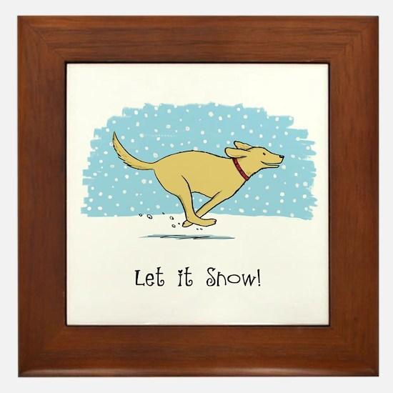 Labrador Snow Holiday Framed Tile