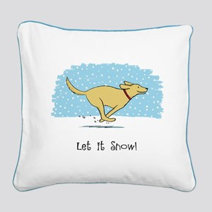 Labrador Snow Holiday Square Canvas Pillow