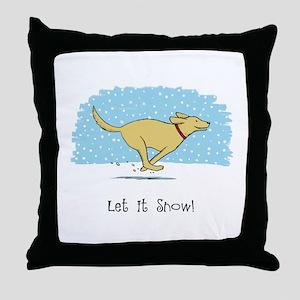 Labrador Snow Holiday Throw Pillow