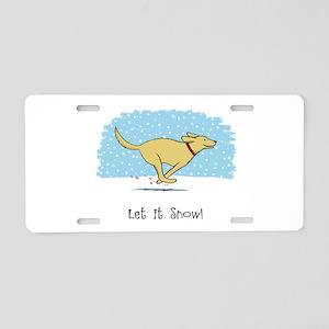 Labrador Snow Holiday Aluminum License Plate