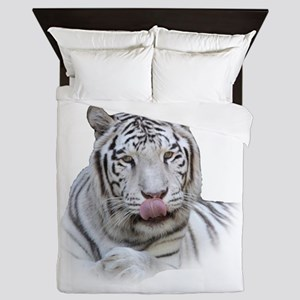 White Tiger Licking Lips Queen Duvet