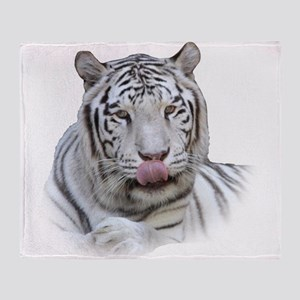 White Tiger Licking Lips Throw Blanket