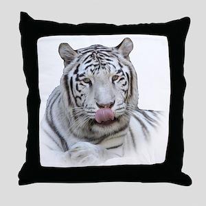 White Tiger Licking Lips Throw Pillow
