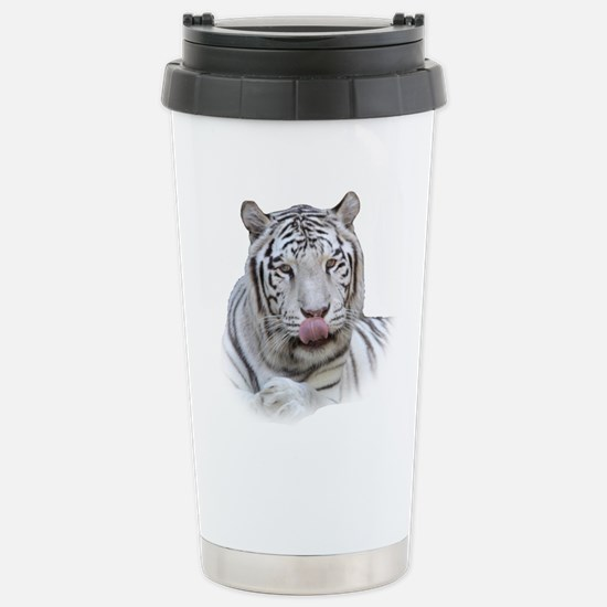 White Tiger Licking Lips Stainless Steel Travel Mu