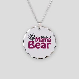 Mama Bear Claw Est 2013 Necklace Circle Charm