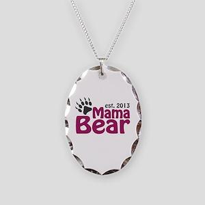Mama Bear Claw Est 2013 Necklace Oval Charm