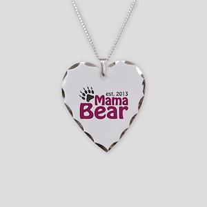 Mama Bear Claw Est 2013 Necklace Heart Charm