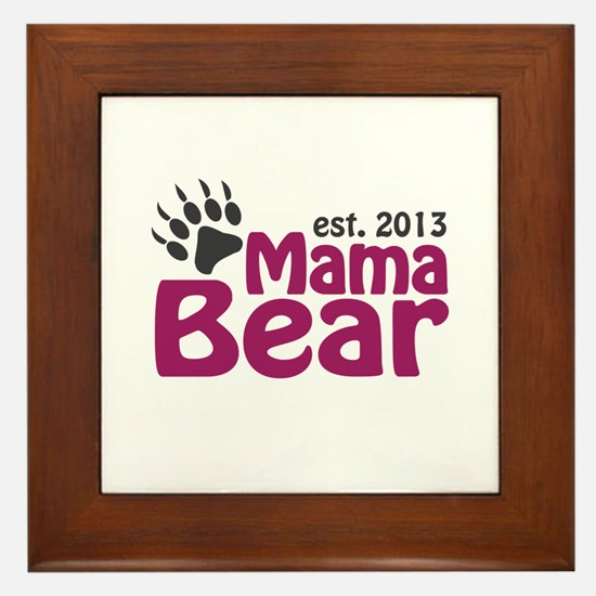 Mama Bear Claw Est 2013 Framed Tile