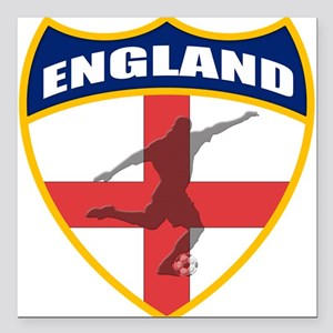 "England Soccer Square Car Magnet 3"" x 3"""