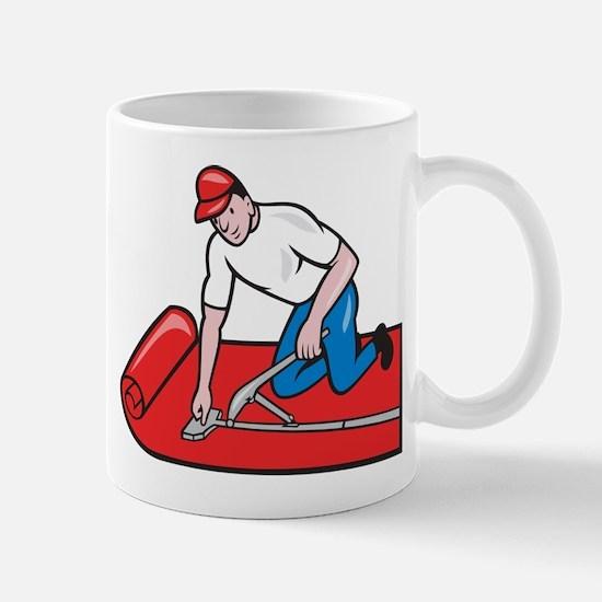 Carpet Layer Fitter Worker Cartoon Mug