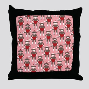 Valentine Heart Sock Monkey Throw Pillow