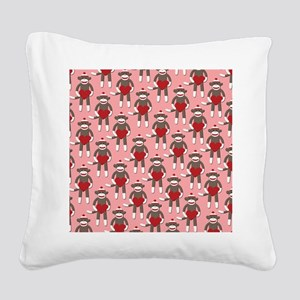 Valentine Heart Sock Monkey Square Canvas Pillow