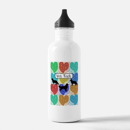 vet tech 2 hearts.PNG Water Bottle