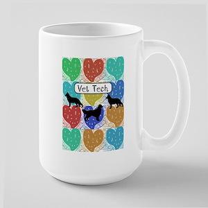 vet tech 2 hearts Large Mug