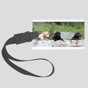 3 Lab pups Large Luggage Tag