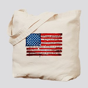Patriotic Pledge of Allegiance USA Flag Tote Bag